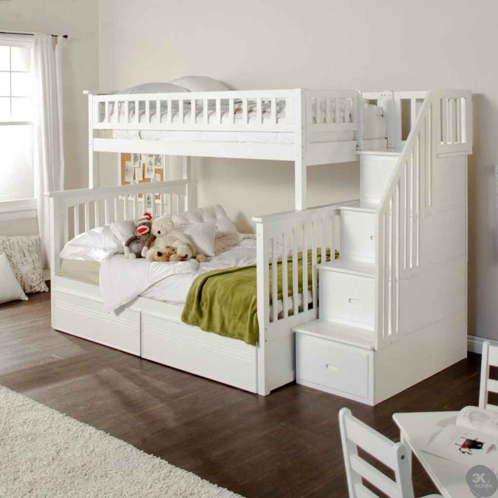 Twin Full Bunk Bed with Stairs 1024 x 1024