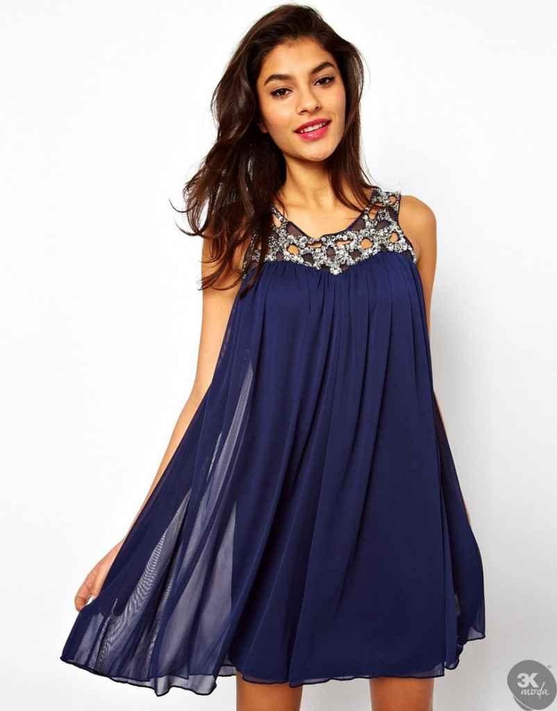 Saks mavi elbise modelleri