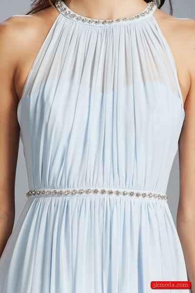 Mavi Yazlık Abiye Elbise Modelleri