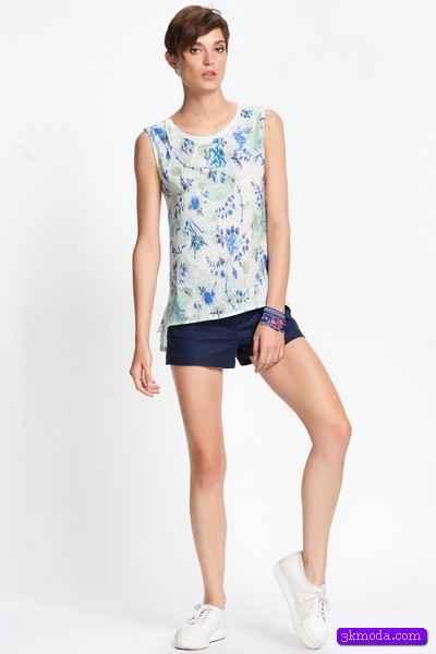 Mavi Bayan Yazlık Bluz Modelleri