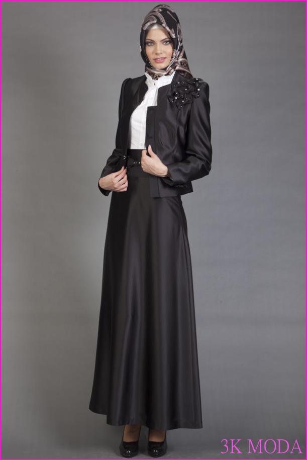 Siyah Tesettür Takım Elbise Modelleri   Tesettür Kıyafet Modelleri