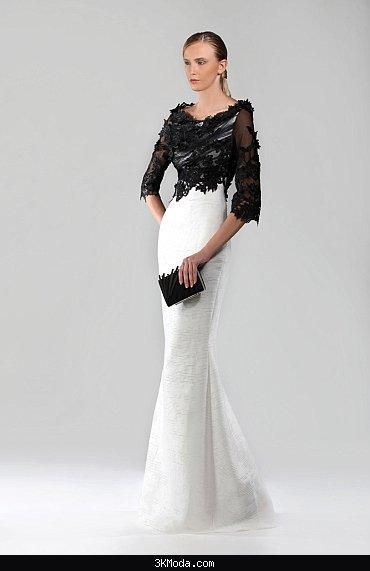 Siyah beyaz abiye elbise modelleri 2016