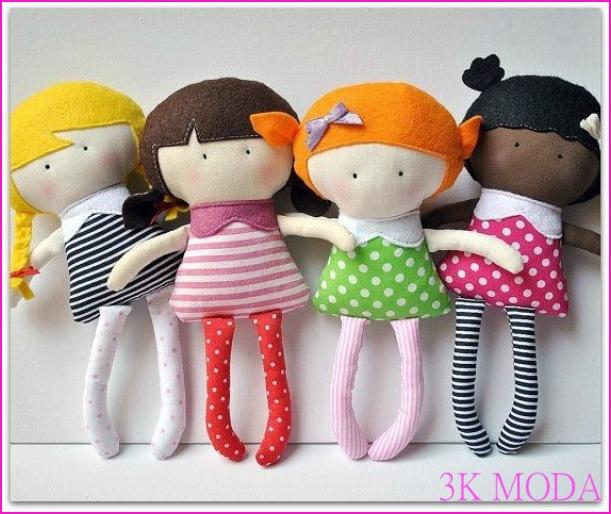 ... , rengarenk bez bebekler, üstelik yapımı da bir o kadar kolay