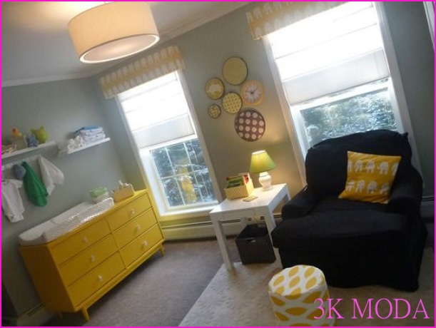 Grey, yellow, and green nursery. I love the embroidery hoops with