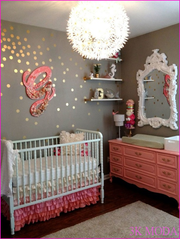 Baby Girl's Nursery, grey and pink.love the Ikea lighting!   For my