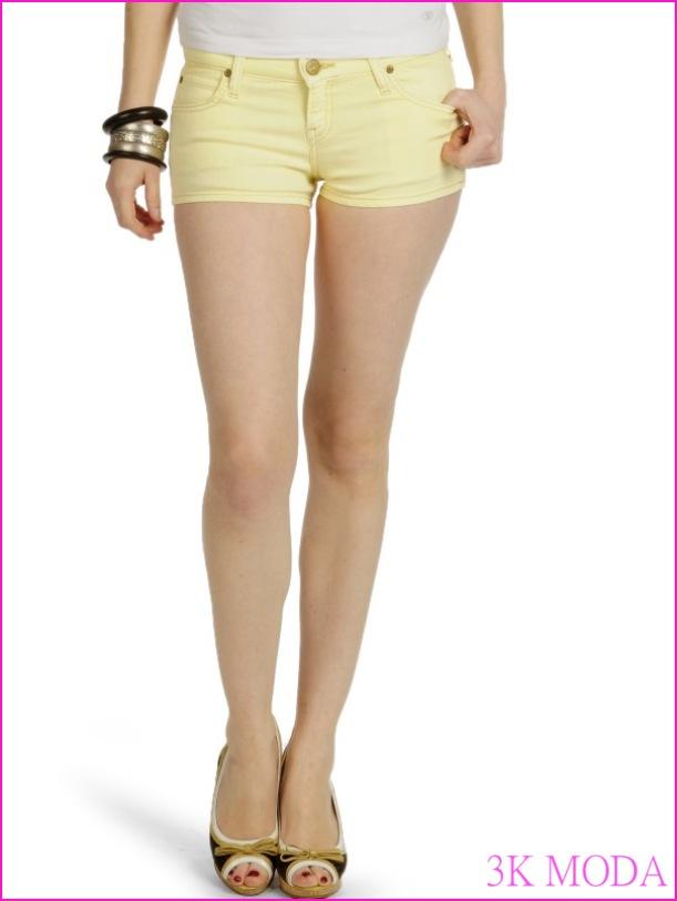 bayan kot şort modelleri yazlık mini sarı kot - Elit Moda