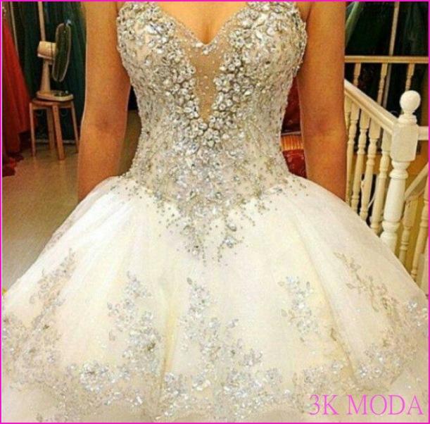 Taşlı Prenses Gelinlik Modelleri 2016